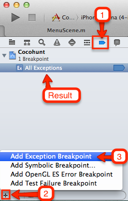 adding all exceptions breakpoint
